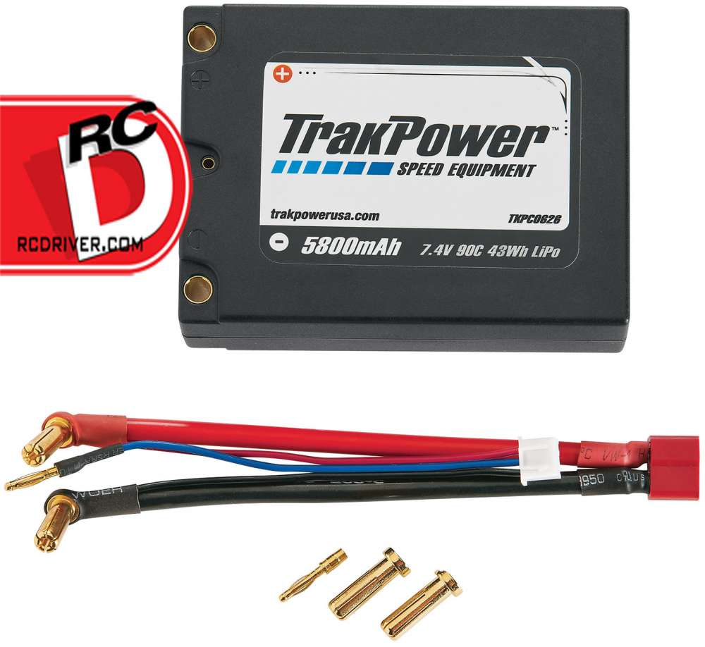 TrakPower 5800mAh 90C 7.4V Square LiPo Battery with 5mm Bullet Connectors