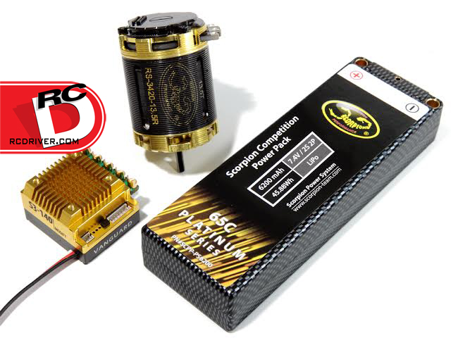 Scorpion Power Systems Vanguard S3-140 Speed Control, RS-3420 13.5 Turn Motor and 2S 6500mAh 65C Competition LiPo Battery