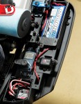 Where have these switches been all of our RC lives? The pushbutton ProTek switch is great and has a LiPo indicator. The inboard servo rotates a crank to control the throttle and braking. We outfitted our test buggy with ProTek electronics and a Hitec Lynx 4S radio system.