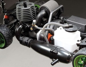 At the heart of the RS4 is a Nitro Star T3.0 engine, pump- ing out an advertised 2.2 horsepower giving this chassis a ridic- ulous power to weight ratio. A tuned, alumi- num pipe com- pliments the engine well giv- ing it plenty of low end grunt.