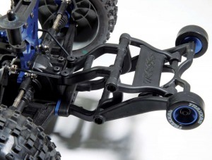I really like the adjustability of the Traxxas wheelie bar. This makes pulling tall wheelies easy and predictable and if for some odd reason I don't want to rip the front wheels off the ground I can drop the wheelie bar all the way down.