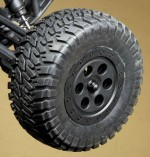 A medium compound rubber all terrain tire offers great grip on many surfaces and look great mounted to the black rims.