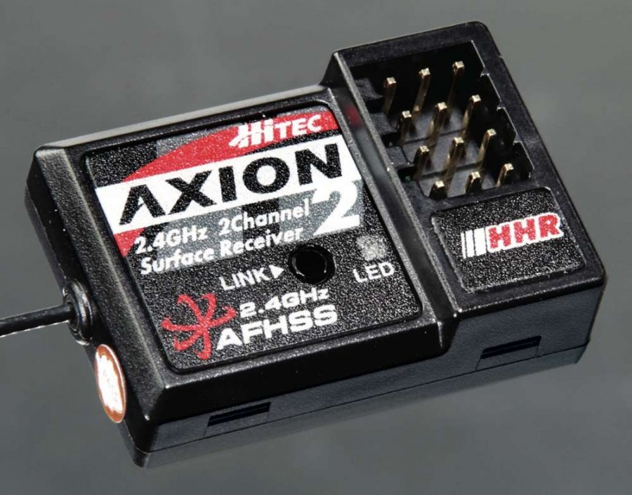 Hitec offers two receivers, the Proton 4 for use with Hitec's telemetry and the Axion 2 shown here that features Hitec's impressive High Response rate.