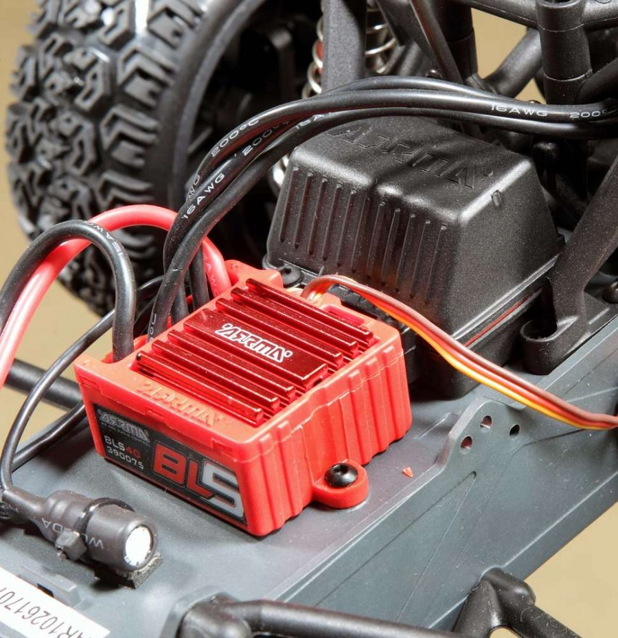The arrma 35 amp brushless ESC is waterproof and has an integrated heatsink capable of handling 8-cell NiMH and 2-cell LiPo battery packs