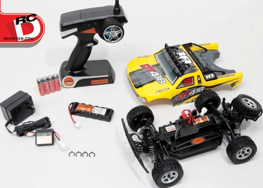 """What's in the box? Everything you need to have hours of fun! Well equipped vehicles, a 2.4GHz radio that even has dual rate adjustments, battery pack, charger and """"AA""""s for the transmitter. Nothing else is needed to get the wheels rolling."""