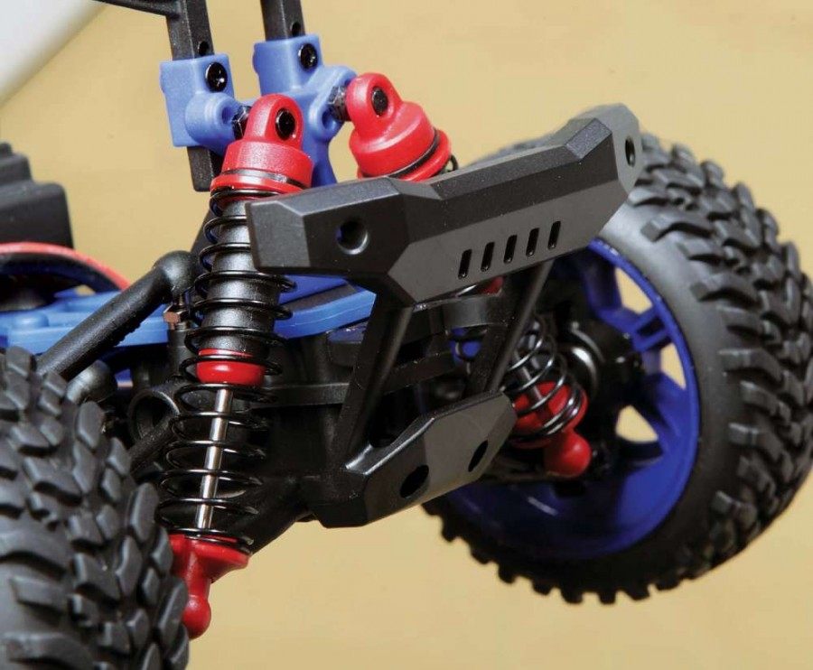 The shocks have plastic bodies and are oil-filled. This makes a huge difference in handling. The Beefy bumpers provide enough flex to absorb any unintentional impact with immobile objects. The body posts are adjustable.