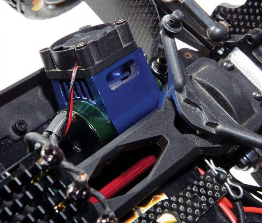 Keeping a motor cool, especially when using a 3S LiPo battery pack is very important. That is why I went with a clip-on heat- sink with fan. Speaking of the motor, this 4600Kv unit from Castle has lots of speed and torque, a perfect combination.