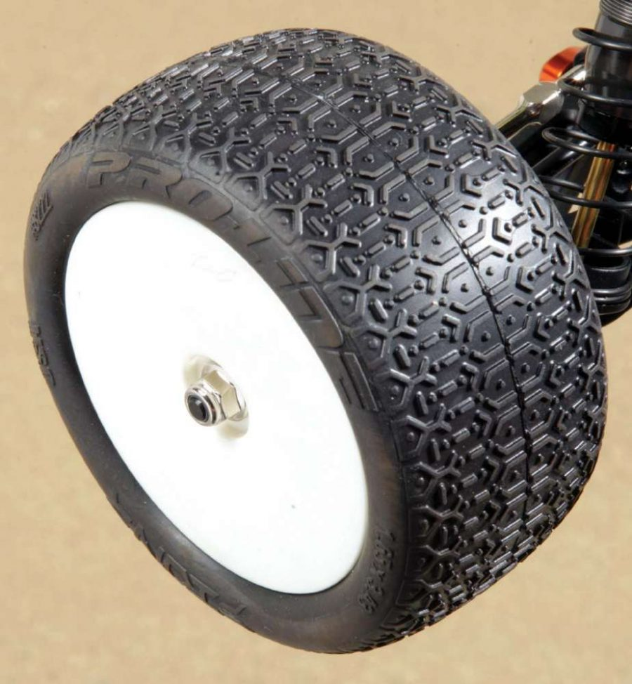 Proline's ION tires are wrapped around the kit wheels. These tires were dialed and provided excellent traction on TM4.