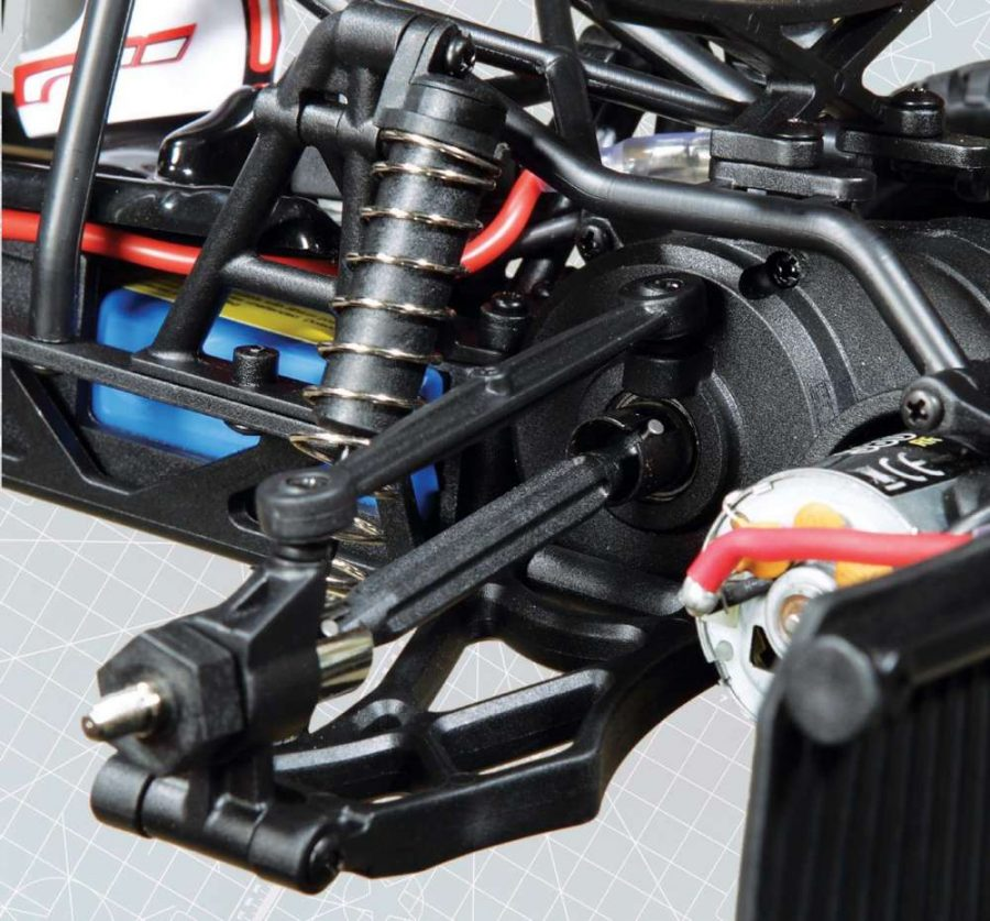 The plastic dog bones offer plenty of strength to provide power from the 380 sized brushed motor to the rear wheels.