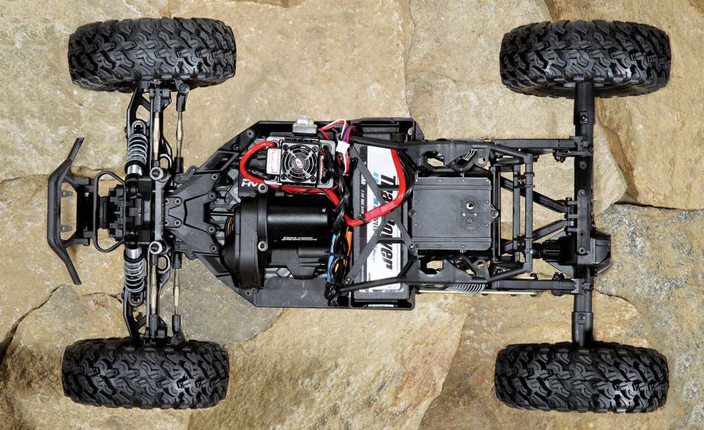 A half-tub chassis provides ample room for the electronics while providing protection against the roughest of trails.