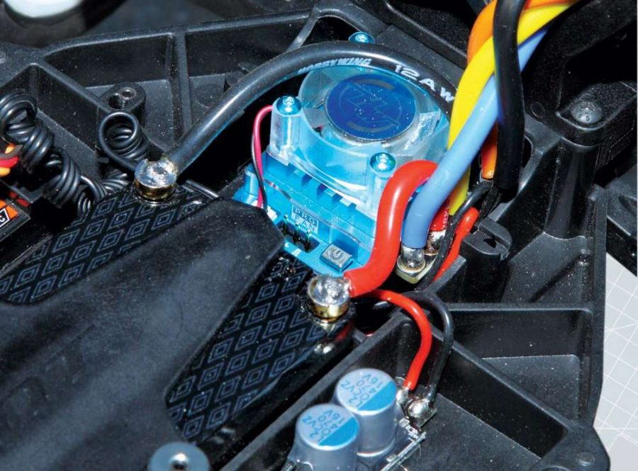 There is plenty of room to mount ESC's in the rear section like our Hobbywing Xerun 120A V3.1 ESC.