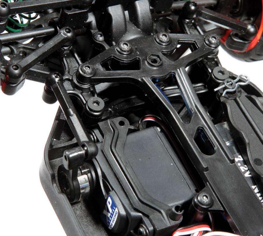A waterproof, XP digital servo handles the steering and swings a wide, dual bellcrank steering system.