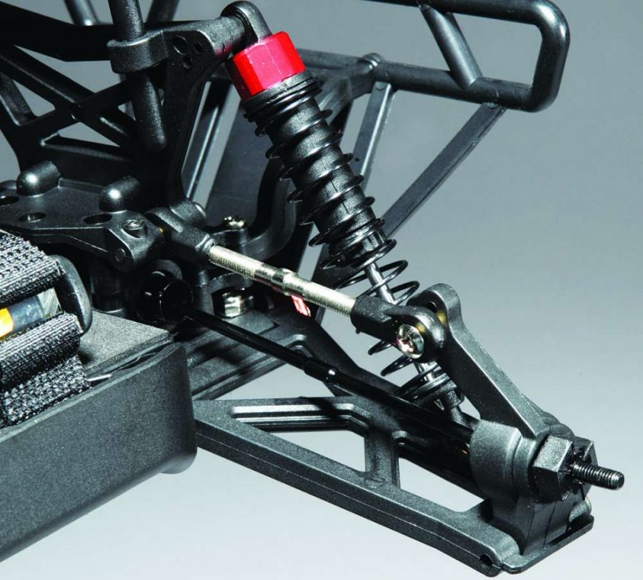 The rear suspension of the 10MT utilizes a lower a-arm setup with an adjustable camber link which also stabilizes the rear hubs.