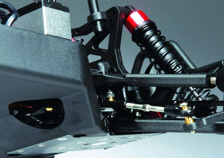 The 3 piece chassis uses a durable aluminum plate under the front and rear diff cases. The Philips hardware is easy for most people with basic tool's to use.