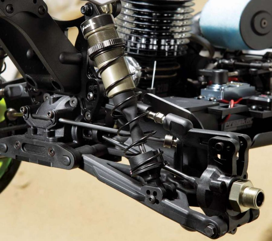 SWorkz includes an alu- minum servo arm for the cranks and the top mounted servo spring and nut setup makes adjustments much easier.