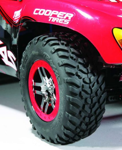 The Slash comes with pre-mounted, 2.2 in. offroad tires that have pretty good grip but more importantly last a long time.