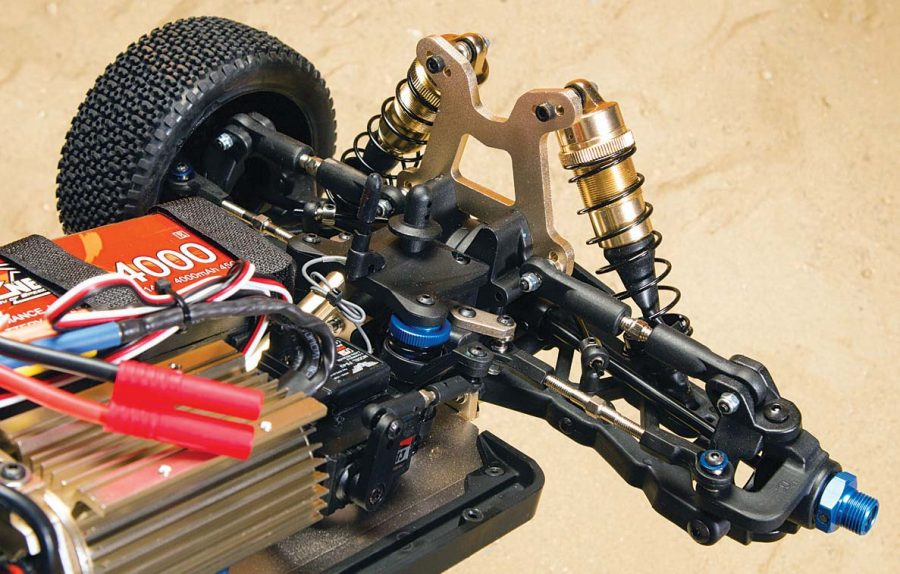 The front end of the T8X comes with all the tuning options you'd find on a full-blown race buggy. The front also utilizes CVD drive shafts.