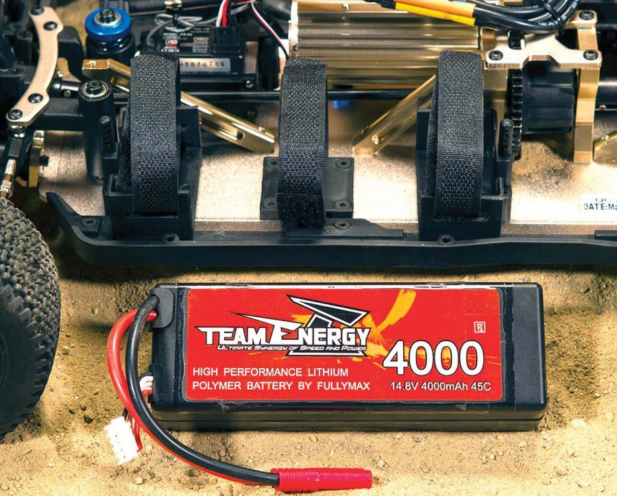 Team Energy includes this 4000mAh 45C LiPo and it works great in the T8X, but the tray and straps are more than large enough to accommodate some bigger batteries for more run time.