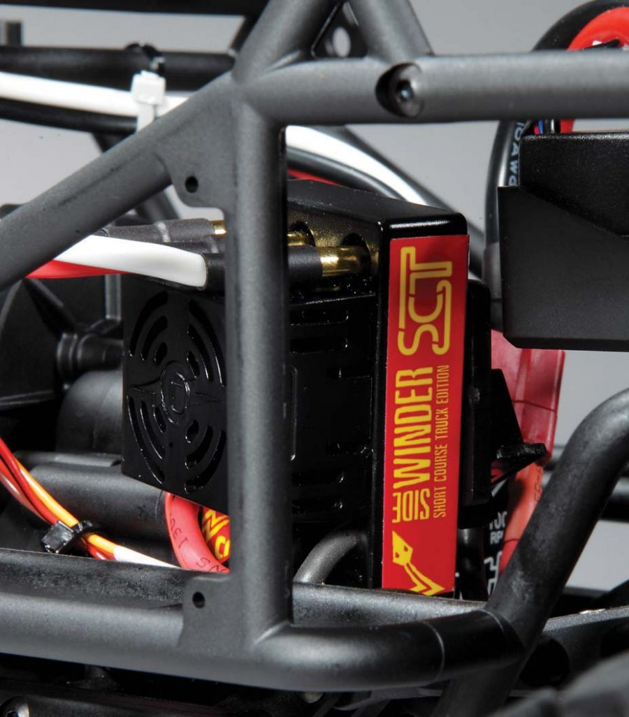 For power we tucked a Castle Creations Sidewinder SCT system into the frame on the included ESC mount.