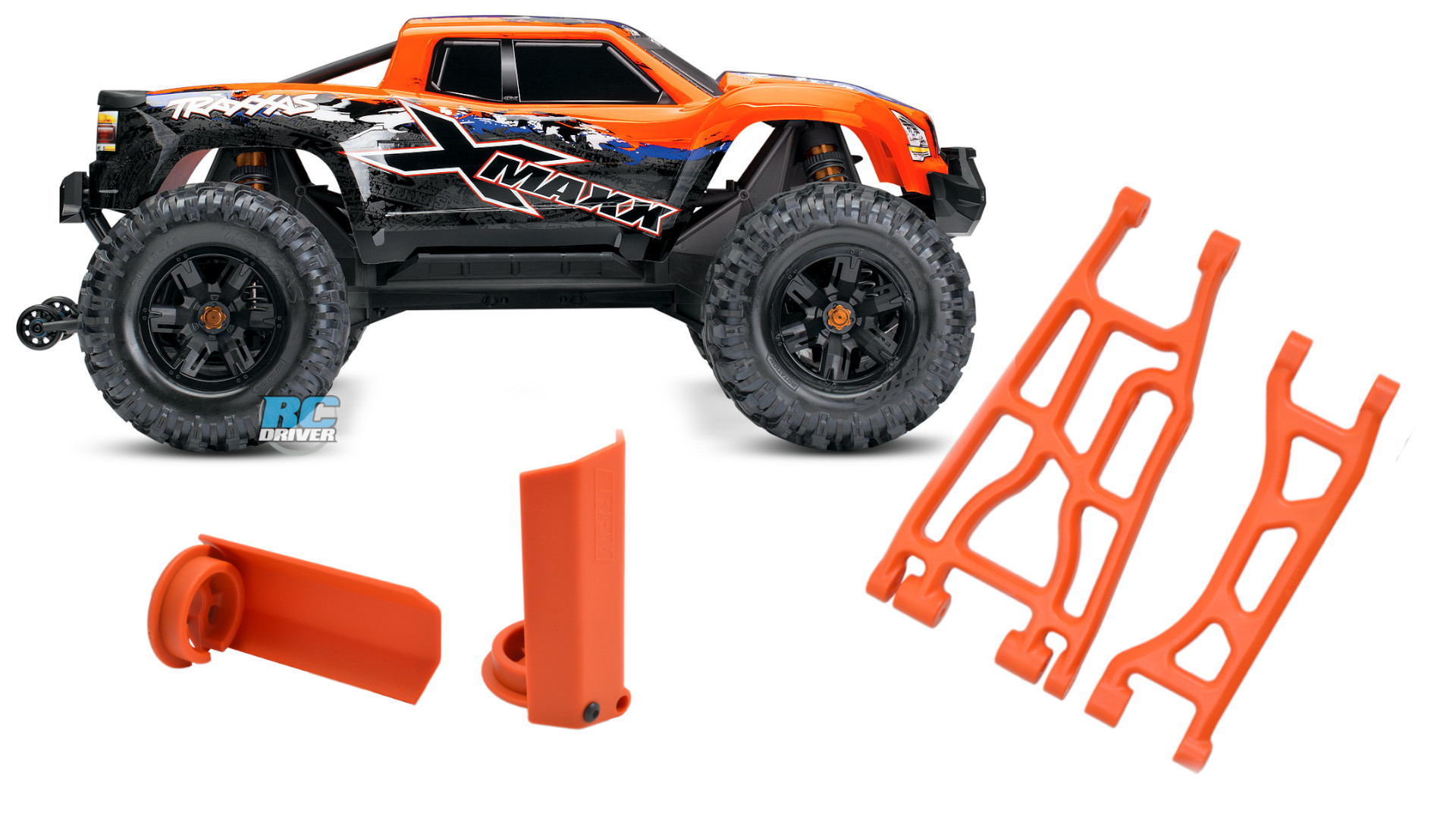 RPM Shock Shaft Guards & Orange A-arms for the Traxxas X-Maxx