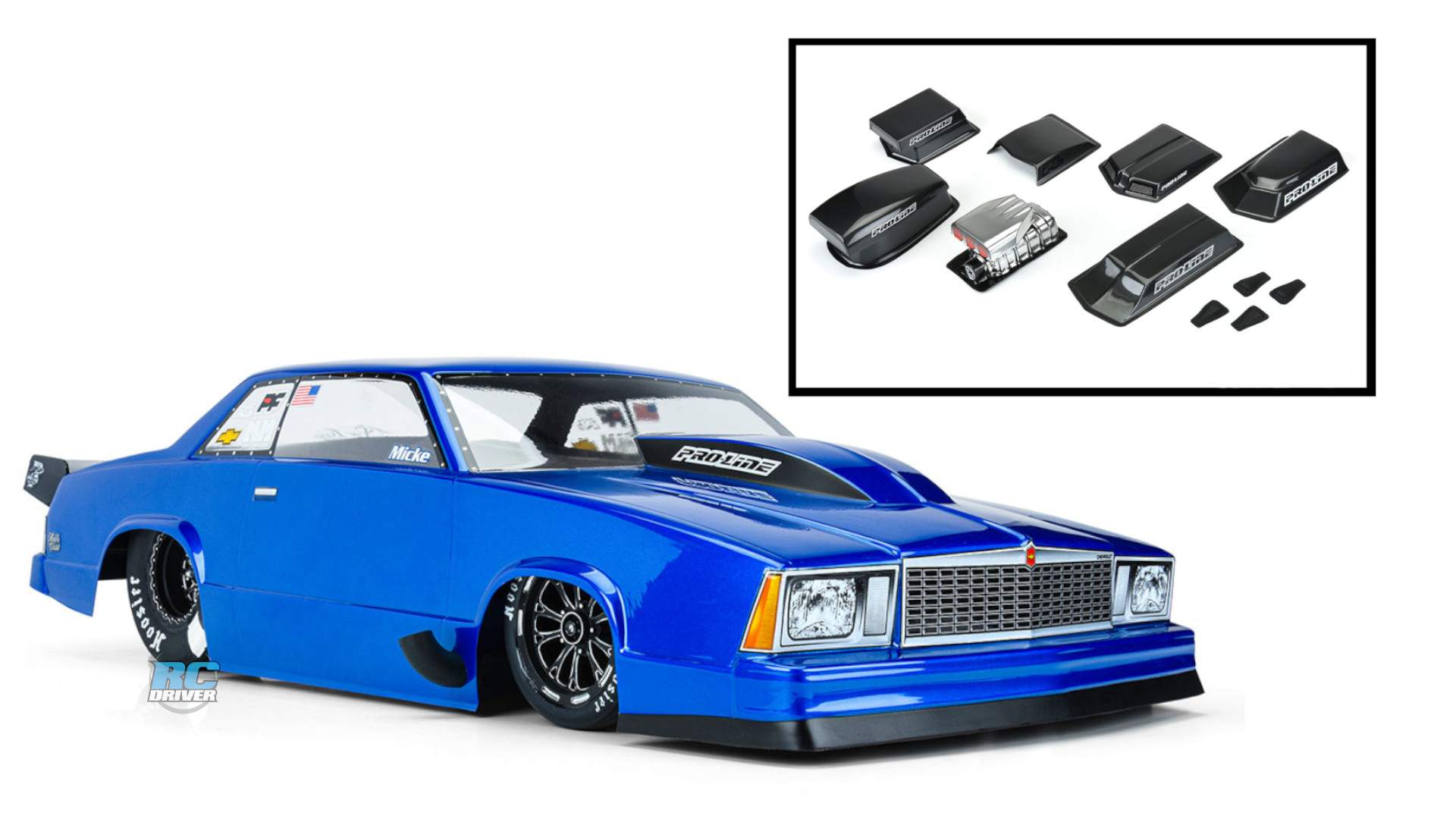 Pro-Line 1978 Chevrolet Malibu drag body & optional hood scoops/blowers