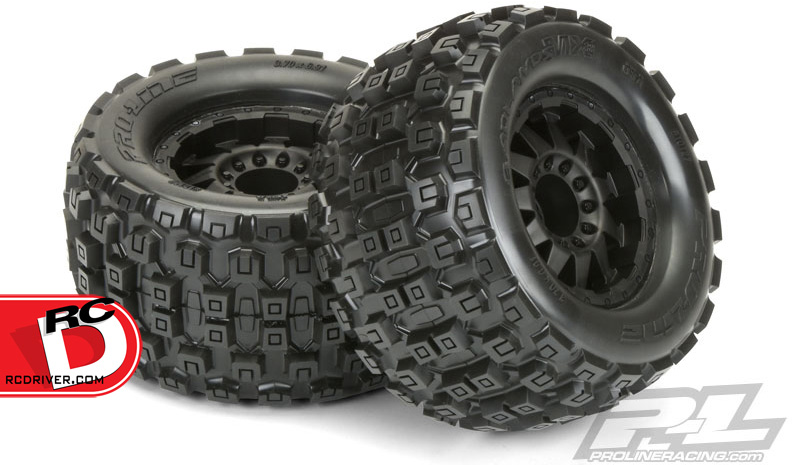 badlands mx38 3 8 traxxas style bead all terrain tires mounted from pro line rc driver. Black Bedroom Furniture Sets. Home Design Ideas