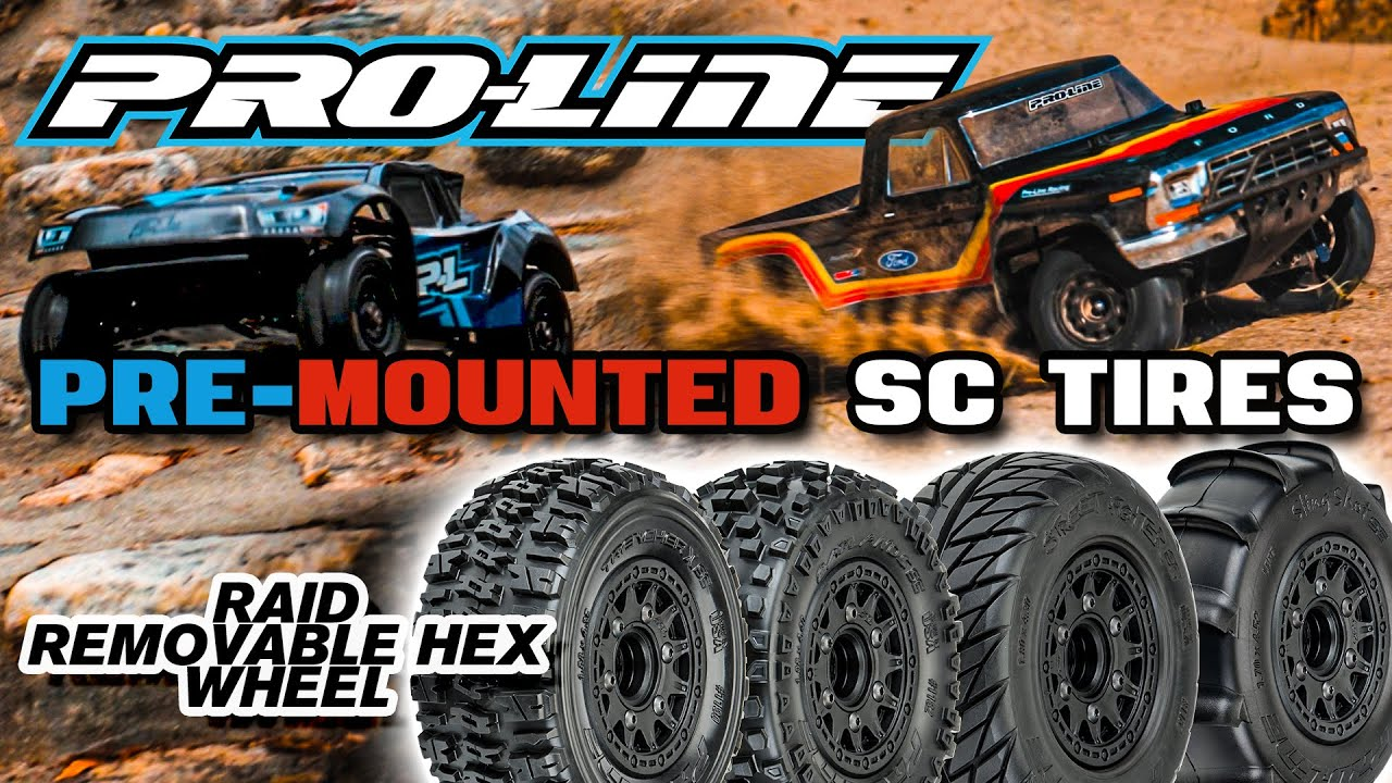 Pro-Line Pre-mounted SC Tires Raid 6x30 Removable Hex System
